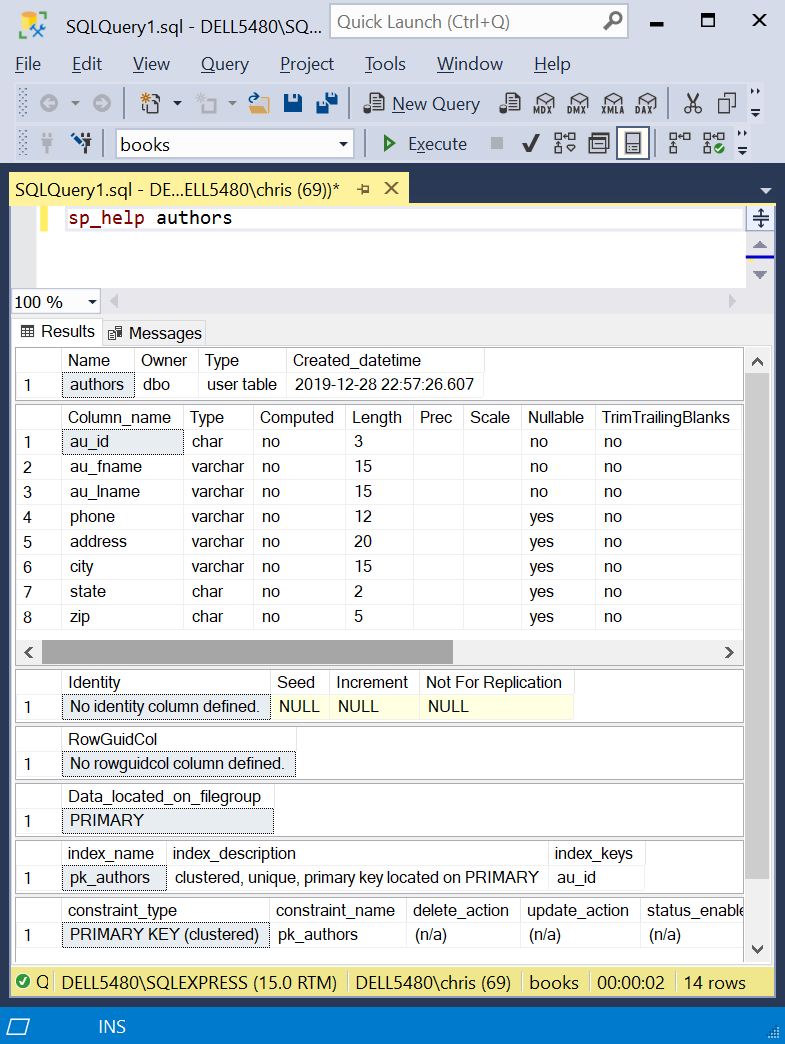 Screenshot: A table definition in Microsoft SQL Server