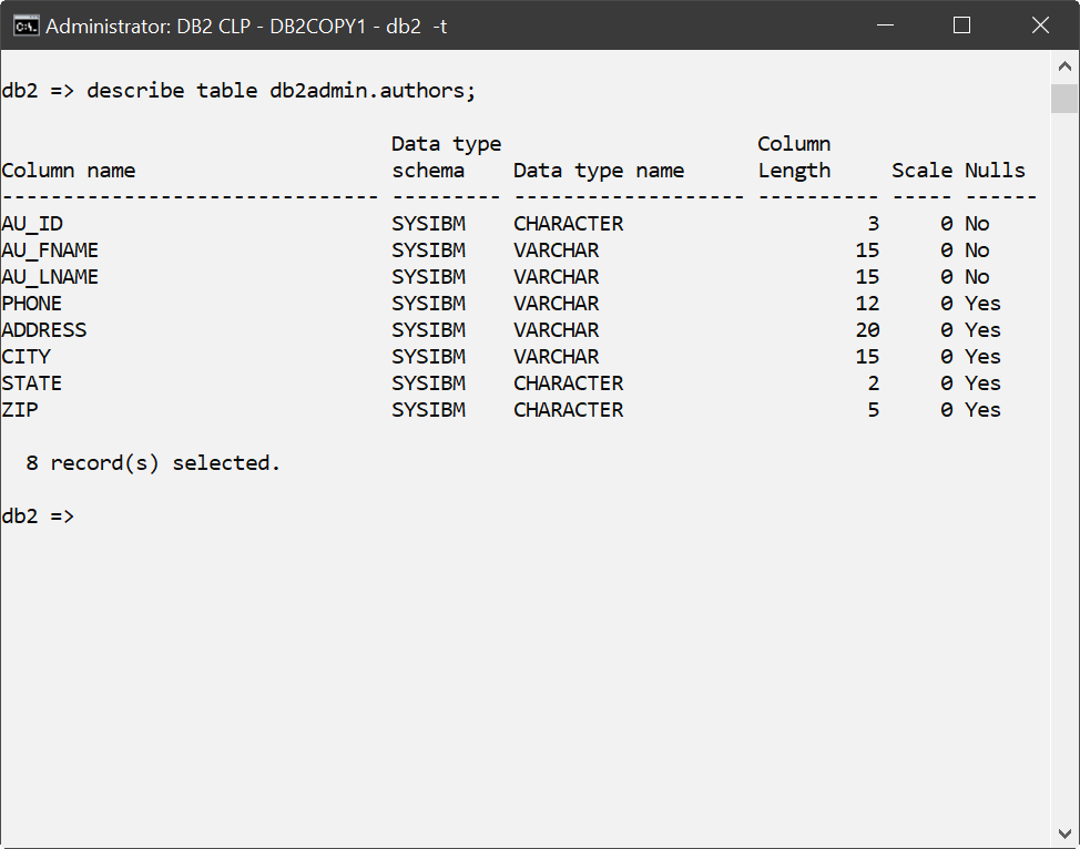 Screenshot: A table definition in IBM Db2 Database